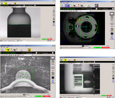 Machine Vision Examples demonstrating confirmation of fill level, correct component assembly, part location and identification.